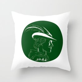 Robin Hood Side Profile Circle Woodcut Throw Pillow
