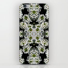 White Alyssum Flowers Mandala Warp Abstract iPhone Skin