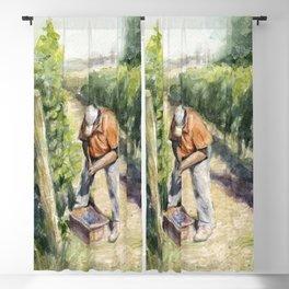Vineyard Watercolor Landscape Wine Grapes Nature Blackout Curtain