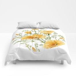 California Poppies - Watercolor Painting Comforters