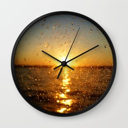 Sunset Glass Water Drops Color Photo Wall Clock