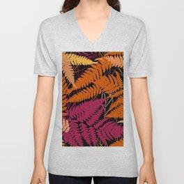 leafs tropical fern palm. orange pink brown silhouette on Black background Unisex V-Neck