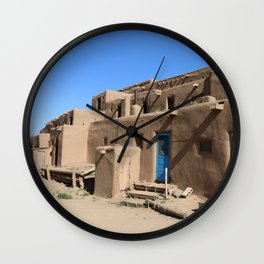 Taos Pueblo Village Road Wall Clock
