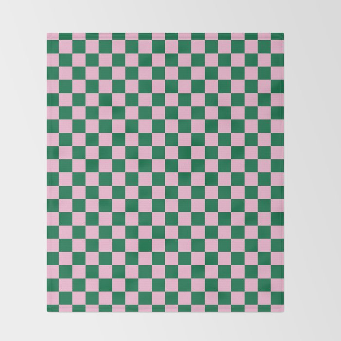 Cotton Candy Pink and Cadmium Green Checkerboard Decke