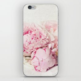 Peonies on white iPhone Skin