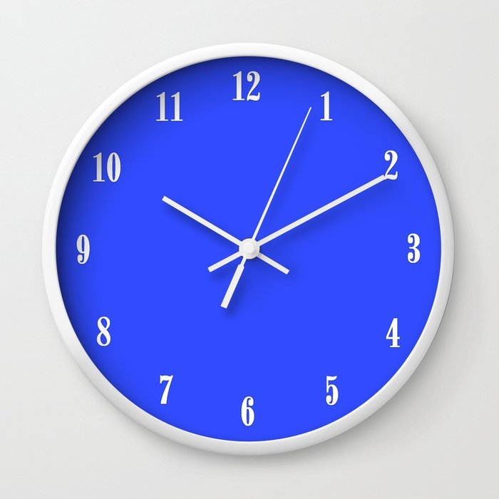 Electric Blue Flowers Wall Clock