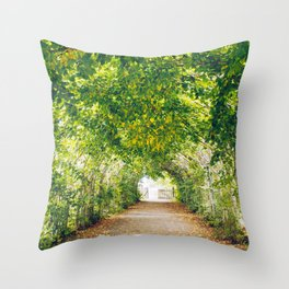 in green summer light Throw Pillow