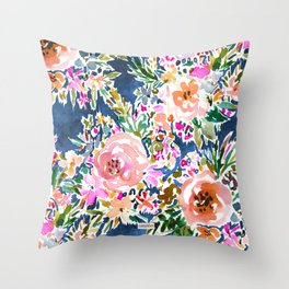 BE LOVE Dark Trellis Floral Throw Pillow
