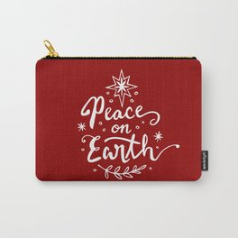 Peace On Earth - White on Red Carry-All Pouch