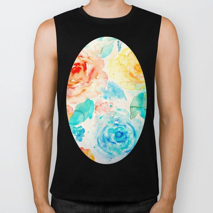 Abstract Flowers 04 Biker Tank