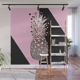 Pink Pineapple Dark Circles Wall Mural