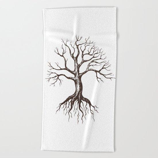 Bare tree Beach Towel