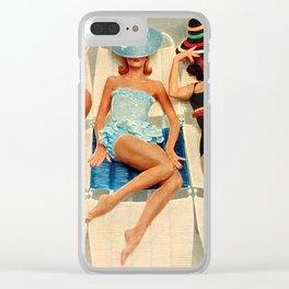 Retro Sunbathers Clear iPhone Case