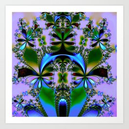Tropical Foliage Blue Art Print