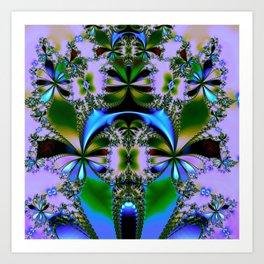 Tropical Foliage Blue Art Print