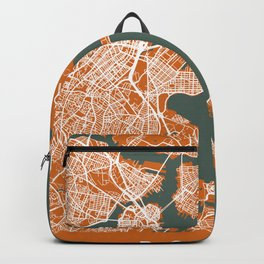 Boston City Map | Massachusetts - United States | Orange & Green | More Colors, Review My Collections Backpack