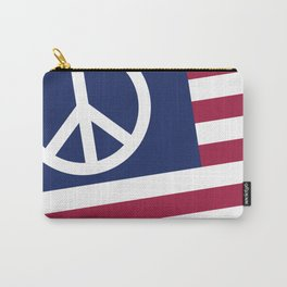 Peace and Love USA Flag Carry-All Pouch
