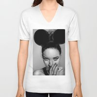 school V-neck T-shirts featuring + Beauty School + by Sandra Jawad