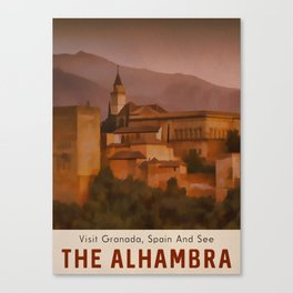 Alhambra Vintage Travel Poster Granada Spain Canvas Print