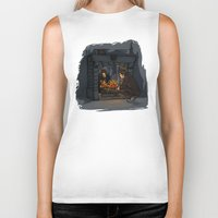 hallion Biker Tanks featuring The Witch in the Fireplace by Karen Hallion Illustrations