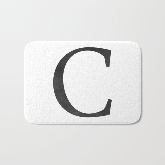 Letter C Initial Monogram Black and White Bath Mat