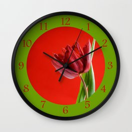 Single red tulip with green leaves Wall Clock