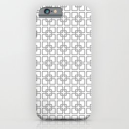 Black Interlocking Geometric Square Pattern on White iPhone Case