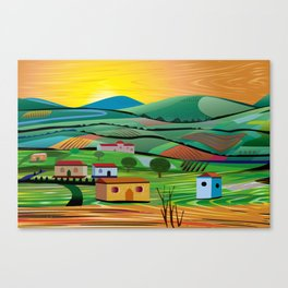 Sunset over Fields Canvas Print