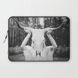 Bull Skull Tribal Woman Vintage Laptop Sleeve