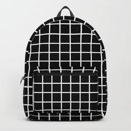 fine white  grid on black background - black and white pattern Backpack