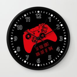 Video Game Red on Black Wall Clock