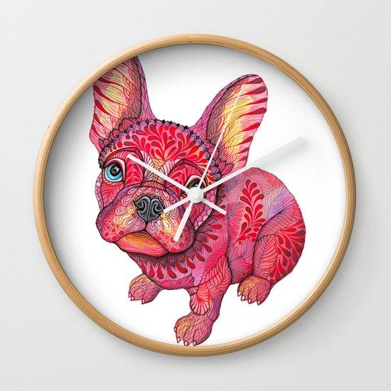 Raspberry frenchie Wall Clock