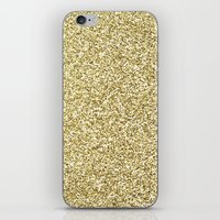 gold glitter iPhone & iPod Skins featuring gold glitter by lamottedesign