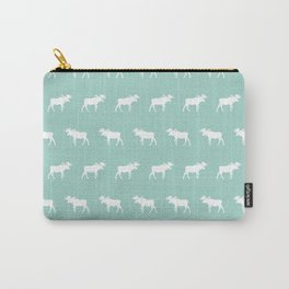 Camper moose pattern minimal nursery basic mint white camping cabin chalet decor Carry-All Pouch