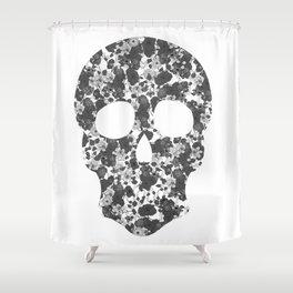 Black and White, Flower Skull Shower Curtain