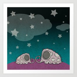 The Night of Pink Elephants Art Print