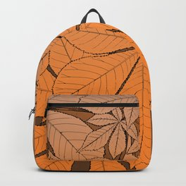 Orange chestnut leaf ornament Backpack