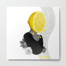 Surrealistic Lemon Woman Zesty Collage Art Metal Print