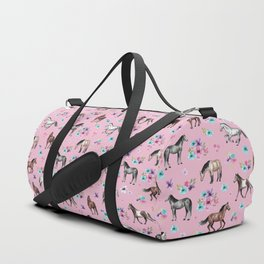 Horses & Flowers, Pink Pattern, Horse Illustration, Little Girls Room, Watercolor Duffle Bag