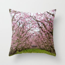 Pink Blossom Spring Photography Magical Path Throw Pillow