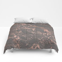 Modern Grey cement concrete on rose gold marble Comforters
