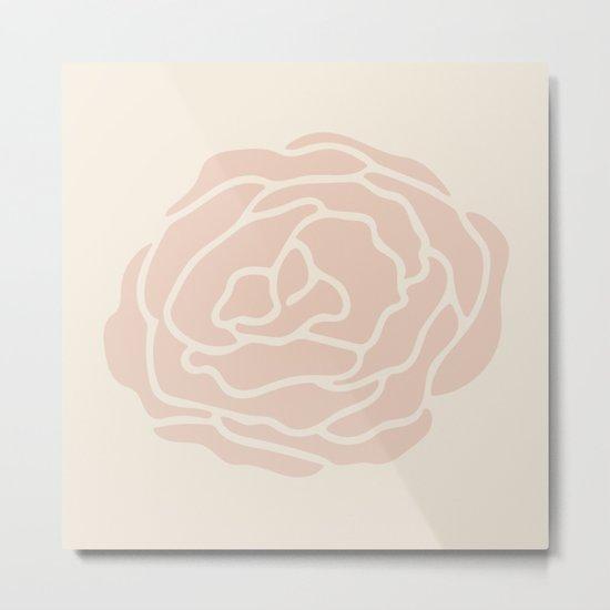 Rose Vintage Pink on Petal Cream Metal Print
