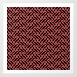 Red Weaved Texture Art Print