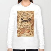 marauders Long Sleeve T-shirts featuring Marauders Map by Dasha Borisenko