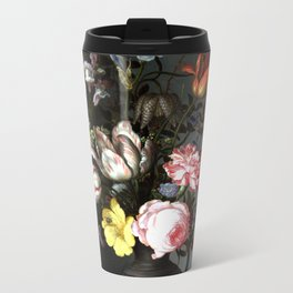 Flowers In A Vase With Shells And Insects Metal Travel Mug