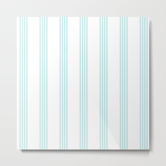Striped I - Turquoise stripes on white- Beautiful summer pattern Metal Print