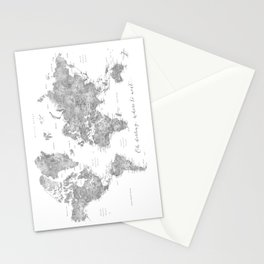 Oh darling, where to next... detailed world map in grayscale watercolor Stationery Cards