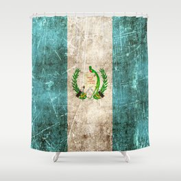 Vintage Aged and Scratched Guatemalan Flag Shower Curtain