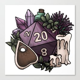 Witchy D20 Tabletop RPG Gaming Dice Canvas Print
