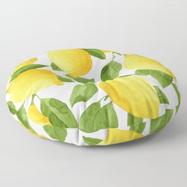Yellow Lemon Watercolor Fruit Floor Pillow
